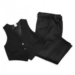 Garnitur chłopięcy czarny: kamizelka i spodnie