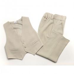 Garnitur chłopięcy beżowy: kamizelka i spodnie